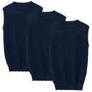 TOPTIE 3 Pack Mens Solid Color Sweater Sleeveless Pullover Vest with Ribbing Edge