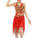 TOPTIE Kid Children Belly Dance Girls Halloween Costume Set , Halter Top With Skirt / Harem Pants