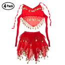 TOPTIE 4 Pack Kids Belly Dance Halloween Party Costumes with Complex Sequined Design , Skirt & Halter Top Set