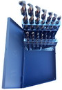 "Drill America 1/16"" - 1/2"" HSS Black & Gold Mechanic Length Drill Bit Set, Metal Case, 15 Pieces (1/64 Increments), KFD15ML-SET"