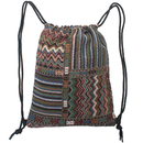 Knit Drawstring Bag Vintage Woven Sackpack Bohemian Tribal Backpack Canvas Gymsack