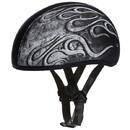 Daytona Helmets D6-FG D.O.T. Daytona Skull Cap- W/ Flames Grey