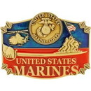 Eagle Emblems B0125 Buckle-Usmc, Action (3-1/4