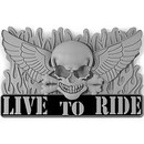 Eagle Emblems B0256 Buckle-Live To Ride (3-1/8