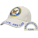 Eagle Emblems CP00218 Cap-Usn Logo, Khaki (Brass Buckle)