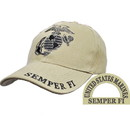 Eagle Emblems CP00302 Cap-Usmc, Ega, Subdued/Khak (Brass Buckle)