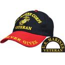 Eagle Emblems CP00323 Cap-Usmc, Veteran, Blk/Red (Brass Buckle)