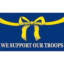 Eagle Emblems F1666 Flag-Support Our Troops (3Ftx5Ft)  Yellow Ribbon .