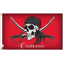 Eagle Emblems F1828 Flag-Pirate, Crimson (3Ftx5Ft) .