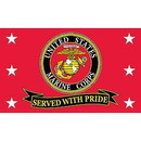 Eagle Emblems F1869 Flag-Usmc, Served W/Pride (3Ftx5Ft)   Made In Usa .
