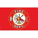 Eagle Emblems F1986 Flag-Fire Department Logo (3Ftx5Ft)     Red/Wht