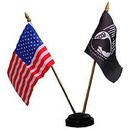 Eagle Emblems F9812 Flag Stand, Black, 2-Flag (Fits 4In X 6In)