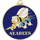 Eagle Emblems KC2000 Key Ring-Usn, Seabees Zinc-Pwt (1-5/8