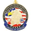 Eagle Emblems KC2009 Key Ring-American Heroes Zinc-Pwt (1-1/2