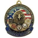 Eagle Emblems KC2015 Key Ring-American Warrior Zinc-Pwt (1-1/2