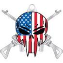 Eagle Emblems KC2022 Key Ring-Demon Skull/Rifl Zinc-Pwt (1-1/2