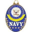 Eagle Emblems KC2033 Key Ring-Usn Logo (Oval) Zinc-Pwt (1-5/8