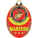 Eagle Emblems KC2035 Key Ring-Usmc Logo (Oval) Zinc-Pwt (1-5/8