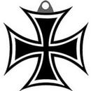 Eagle Emblems KC2550 Key Ring-Iron Cross Zinc-Pwt (1-1/2