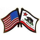 Eagle Emblems P09105 Pin-Usa/California (Cross Flags) (1-1/8