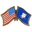 Eagle Emblems P09107 Pin-Usa/Connecticut (Cross Flags) (1-1/8