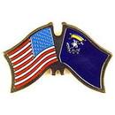 Eagle Emblems P09129 Pin-Usa/Nevada (Cross Flags) (1-1/8