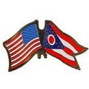 Eagle Emblems P09136 Pin-Usa/Ohio (Cross Flags) (1-1/8