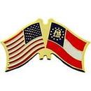 Eagle Emblems P09161 Pin-Usa/Georgia, Present (Cross Flags) (1-1/8