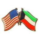 Eagle Emblems P09764 Pin-Usa/Kuwait (Cross Flags) (1-1/8