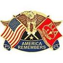 Eagle Emblems P12600 Pin-Kia, Eagle & Flags, Red