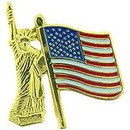 Eagle Emblems P12890 Pin-Usa, Statue Of Liberty W/Usa Flag (1