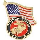 Eagle Emblems P13772 Pin-Usmc Logo, W/Usa Flag (1-1/4
