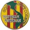 Eagle Emblems P14765 Pin-Viet, God Duty Country Round (7/8