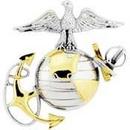 Eagle Emblems P16362 Pin-Usmc, Emblem, E2, Left Cap-Gold/Silver (1-3/4