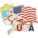 Eagle Emblems P63766 Pin-Fly Girl, Am.Woman (1-1/4