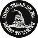 Eagle Emblems PM0461 Patch-Dont Tread On Me (Black). (3-1/16