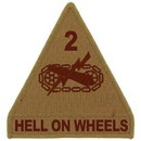 Eagle Emblems PM0559 Patch-Army, 002Nd Arm.Div. (Desert) (3-3/4