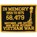 Eagle Emblems PM1344 Patch-Vietnam, In Memory (Ylw/Blk) (3-1/4