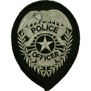Eagle Emblems PM4117 Patch-Police Shield (Slv/Blk) (3-3/4