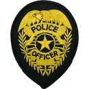 Eagle Emblems PM4118 Patch-Police Shield (Gld/Blk) (3-3/4
