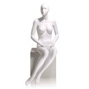 Econoco EVE-6H Female Mannequin - Abstract head, Hands on Lap, Seated, True White
