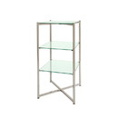 "Econoco FLT37BCGLS 37""H Folding Glass Towers with Brushed Chrome finish"