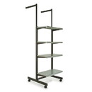 "Econoco K400-GY Frame w/ 4-24"" Shelves and 2-16"" Arms; 1"" x 2"" Rectangular Tubing, 24"