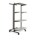 "Econoco K410-GY Frame w/ 4-24"" Shelves and 1 T-Stand; 1"" Square Tubing, 24"