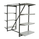 "Econoco K411-GY Double Hangrail Frame w/ 8-24"" Shelves; 1"" Square Tubing, 24"