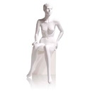 Econoco MGFH-5 Female Mannequin - Molded Hair, Seated, Right Hand on Knee, Left on Hip, 55