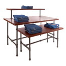 Econoco PSNTLSET Pipeline Large Nesting Table with Top, Anthracite Grey, Dark Brown Wood Grained Melamine Top