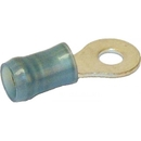 Te Connectivity 36158 Ring Terminal/#6 Stud/Tab Size, Female, Insulated, Blue, Tin Plating, Copper Material, Nylon Insulation, 21.82 Mm In Length, 300 Vac. For Use With 16-14 Gauge Wire.
