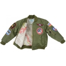 Flightline MA1-B-7 Ma1 Jacket/Green With Patches, Kids Size 7