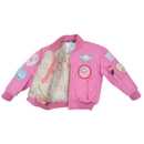 Flightline MA1-P-1416 Ma1 Jacket/Pink With Patches, Kids Size 14-16